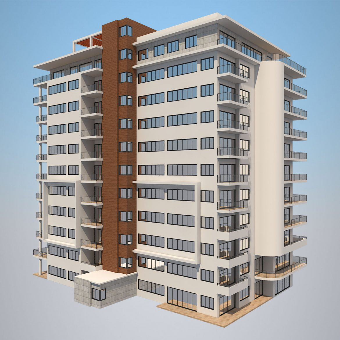apartment building_61 3d model 3ds blend c4d fbx max ds max plugin ma mb obj 303407