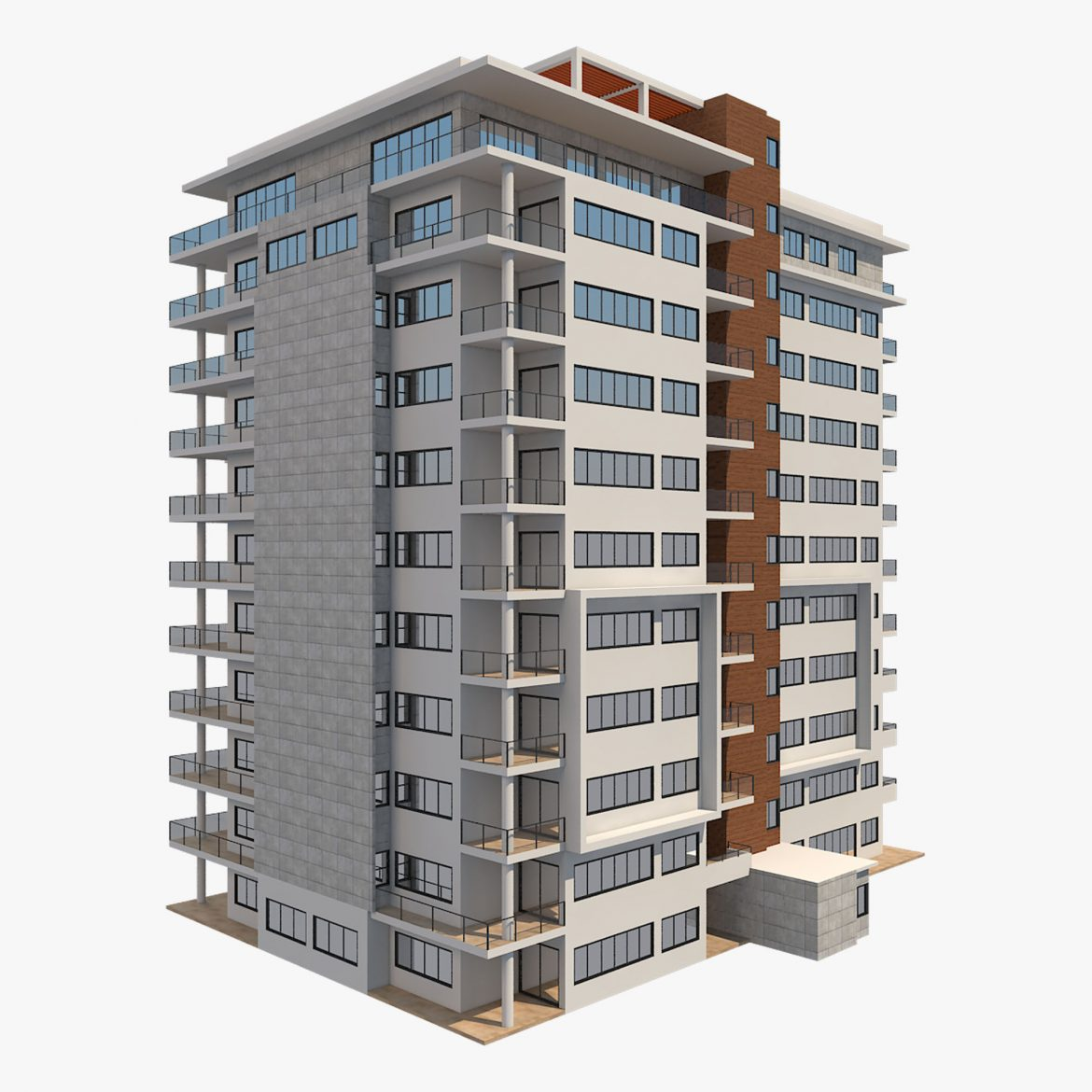 apartment building_61 3d model 3ds blend c4d fbx max ds max plugin ma mb obj 303408