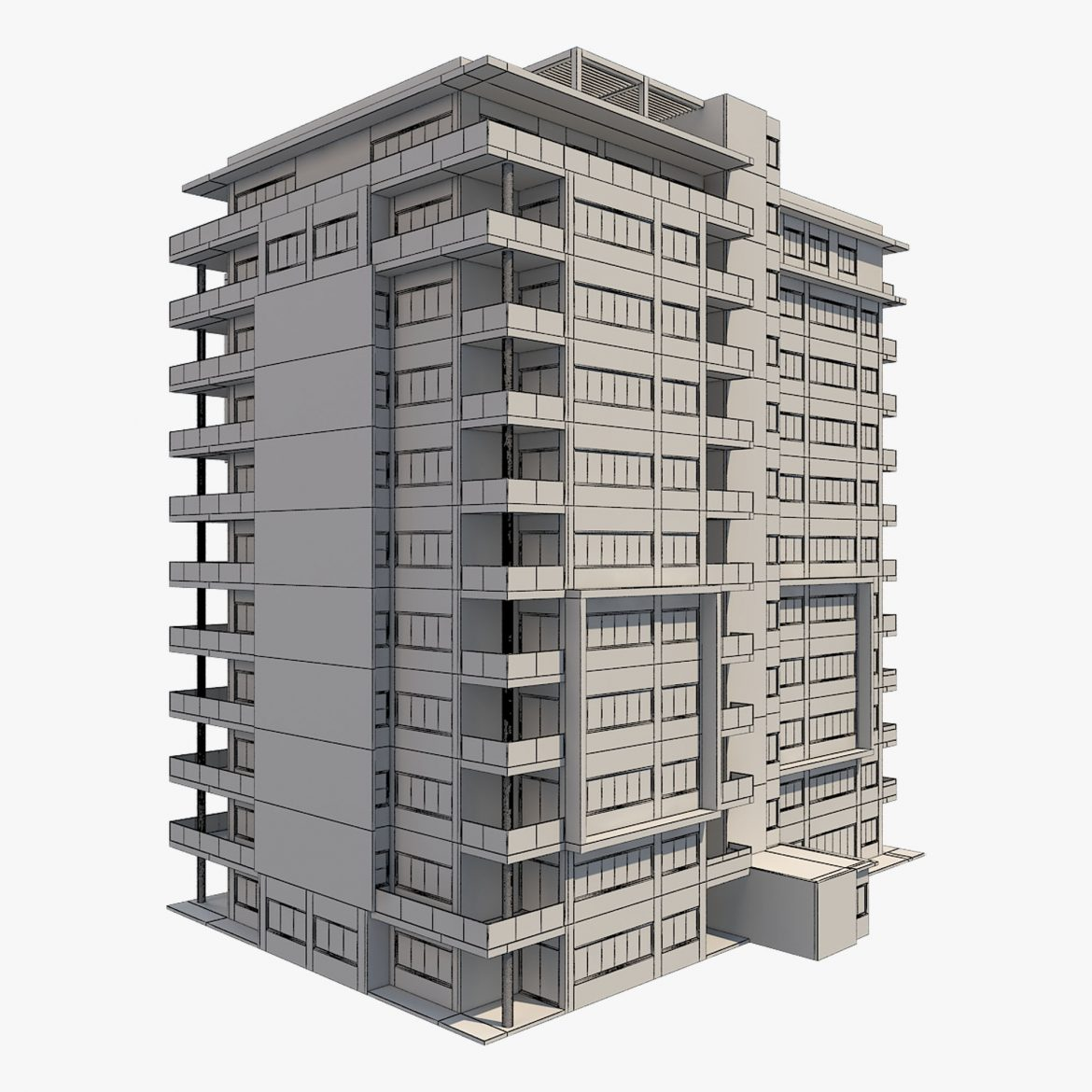 apartment building_61 3d model 3ds blend c4d fbx max ds max plugin ma mb obj 303414