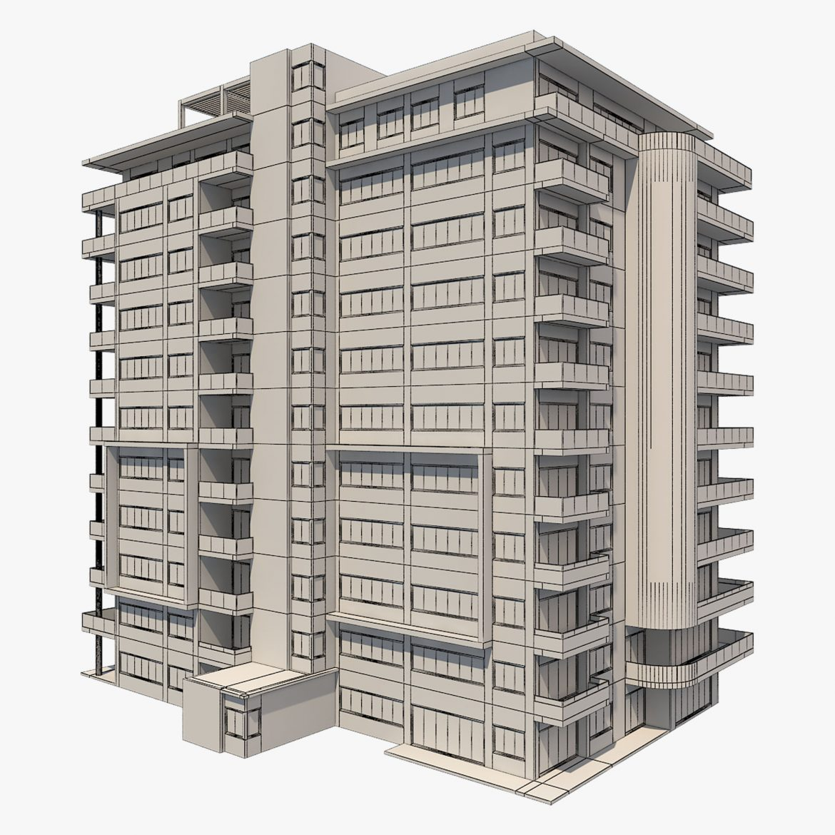 apartment building_61 3d model 3ds blend c4d fbx max ds max plugin ma mb obj 303415