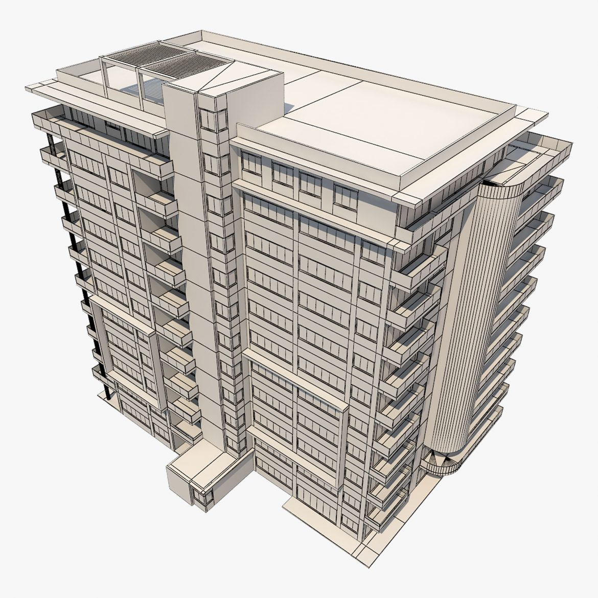 apartment building_61 3d model 3ds blend c4d fbx max ds max plugin ma mb obj 303418