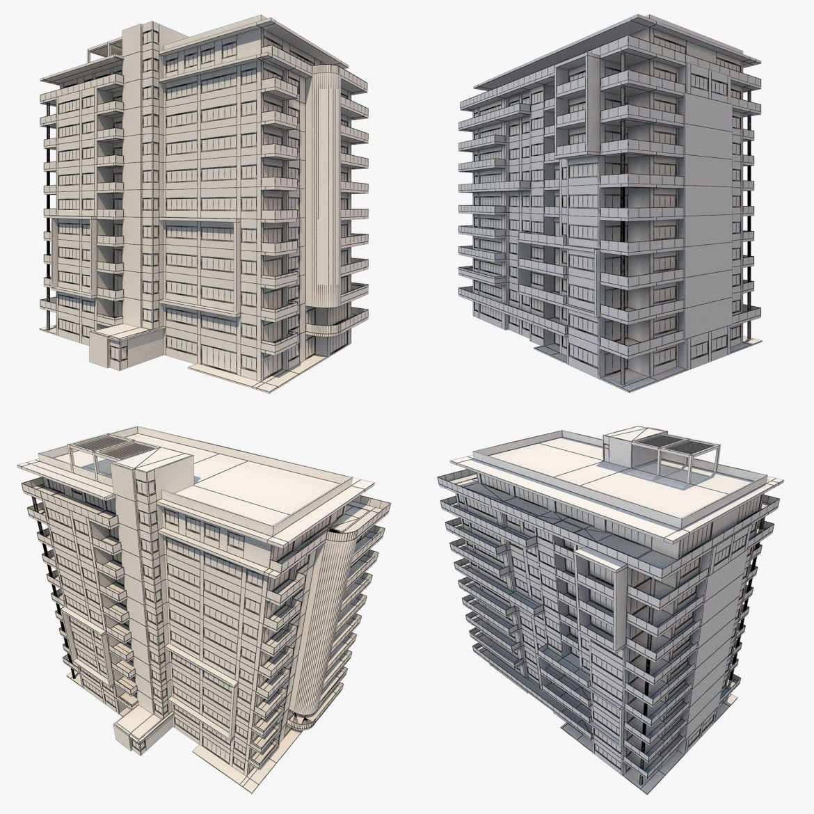 apartment building_61 3d model 3ds blend c4d fbx max ds max plugin ma mb obj 303420