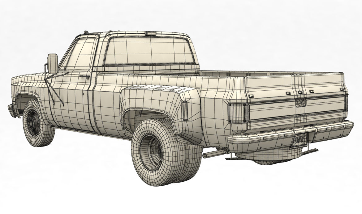 generic dually pickup truck 2 3d model 3ds max fbx obj 303571