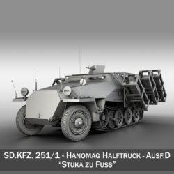 sdkfz 251 - ausf.d - stwff zu fuss model 3d 3ds c4d fbx lwo lw lw lj obj