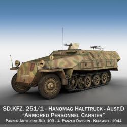 sdkfz 251/1 – ausf.d – half-track – 202 3d model 3ds c4d fbx lwo lw lws obj 303624
