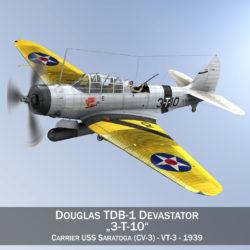 douglas db-1 devastator - Model 3t10 3d 3ds c4d lwo lw lw lj lb lj lb d