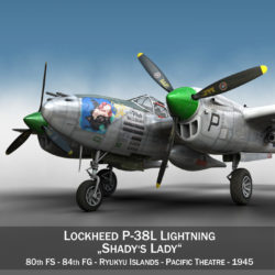 lockheed p-38 lightning – shadys lady 3d model fbx lwo lw lws obj c4d 303782