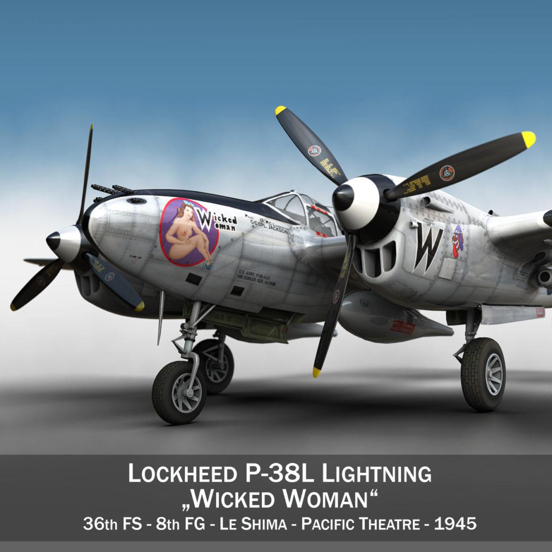 lockheed p-38 lightning – wicked woman 3d model fbx lwo lw lws obj c4d 303806