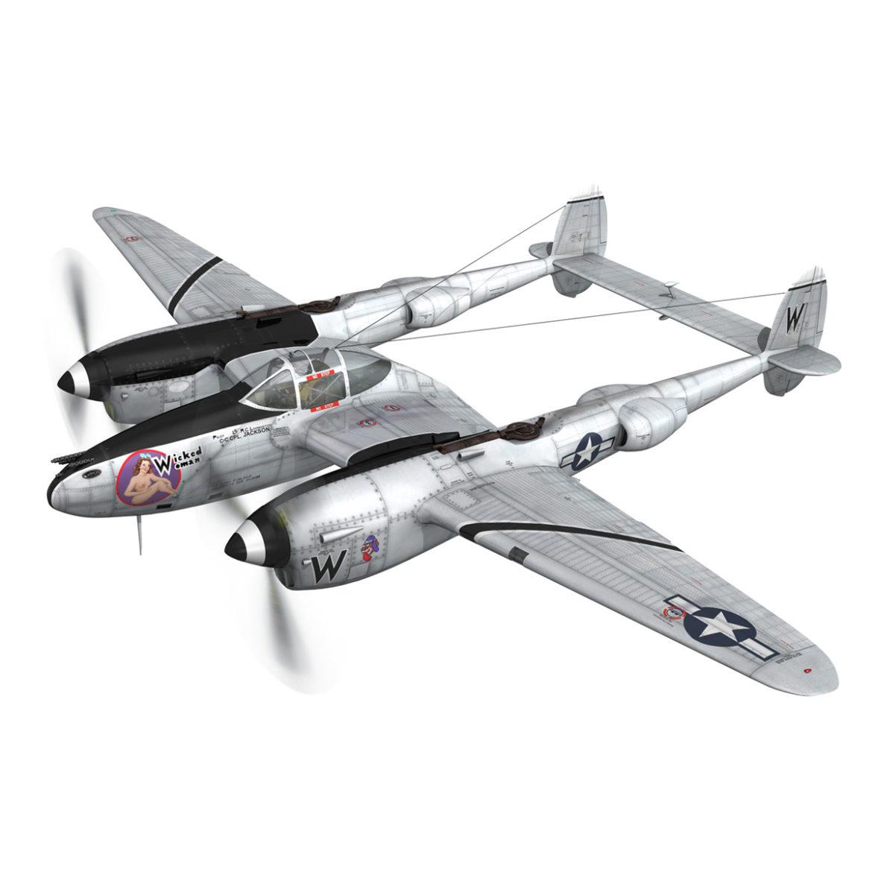 lockheed p-38 lightning – wicked woman 3d model fbx lwo lw lws obj c4d 303807