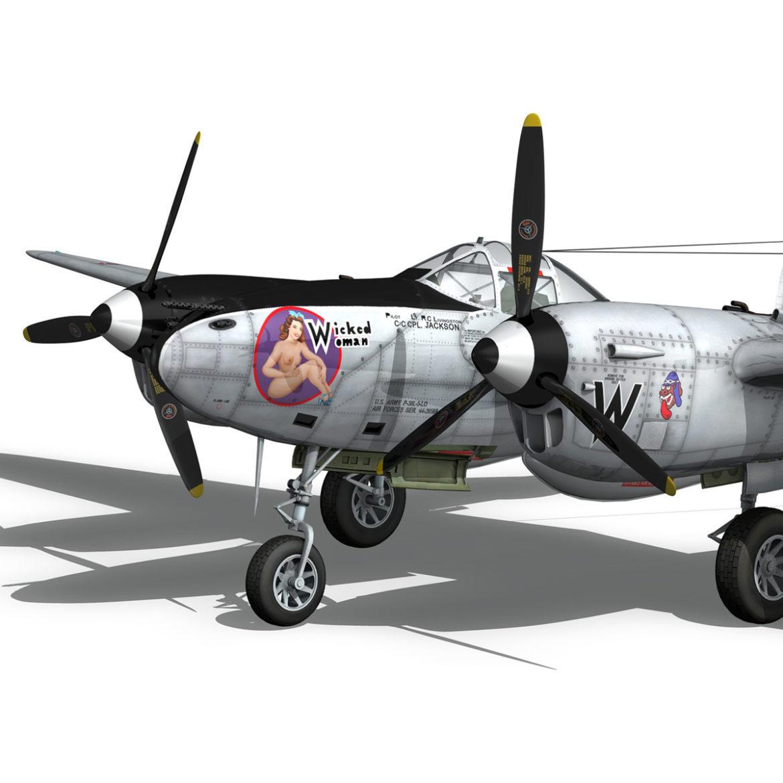 lockheed p-38 lightning – wicked woman 3d model fbx lwo lw lws obj c4d 303814