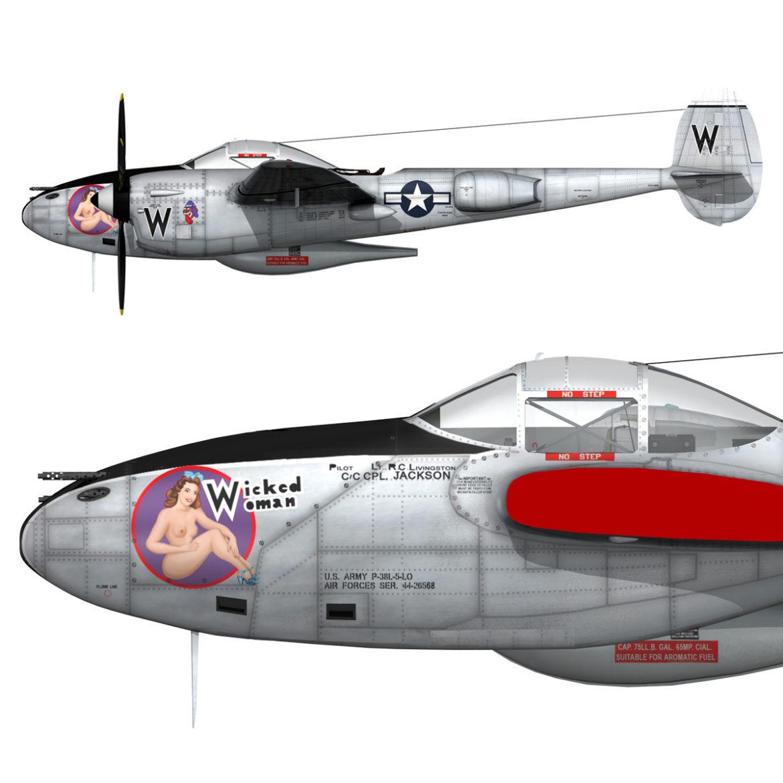 lockheed p-38 lightning – wicked woman 3d model fbx lwo lw lws obj c4d 303824