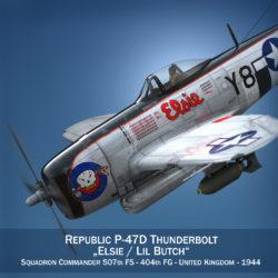 köztársaság p-47d villámcsapás - elsie - lil butch 3d modell fbx lwo lws objektum c4d 303890