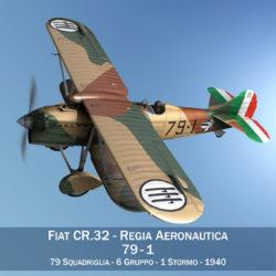 fiat cr.32 – italy airforce – 79 squadriglia 3d model fbx lwo lw lws obj c4d 303918