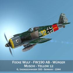 focke wulf – fw190 a8 – yellow 12 3d model 3ds c4d lwo lw lws obj fbx 304020