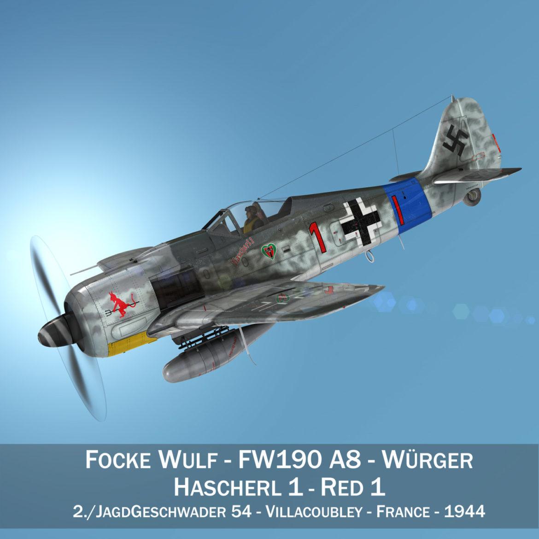 focke wulf – fw190 a8 – red 1 3d model 3ds c4d fbx lwo lw lws obj 304068