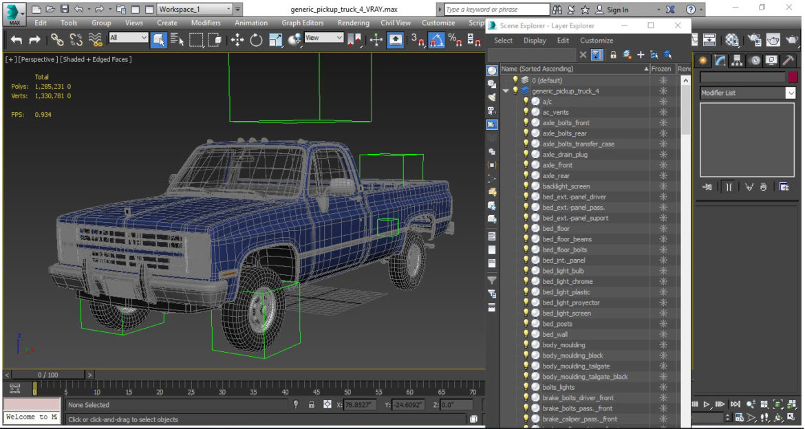 generic 4wd pickup truck 4 3d model max 3ds obj fbx jpeg 304194