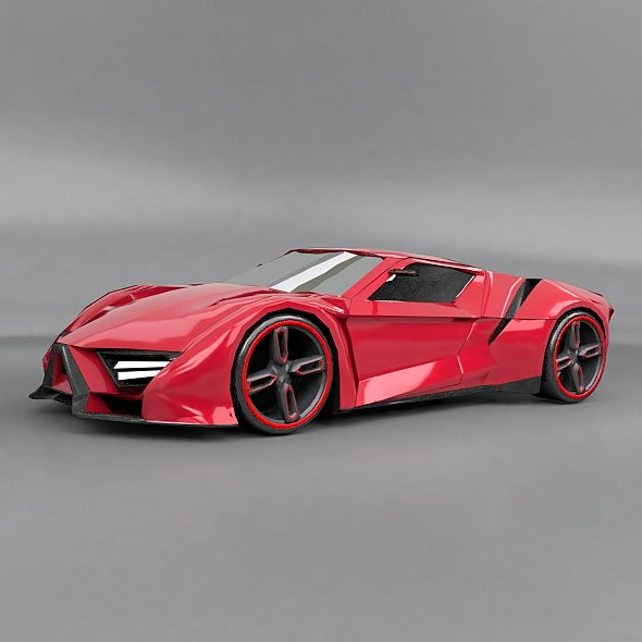 lowpoly itonos futuristic concept car 3d model 3ds blend dae lwo lw lws obj 304595