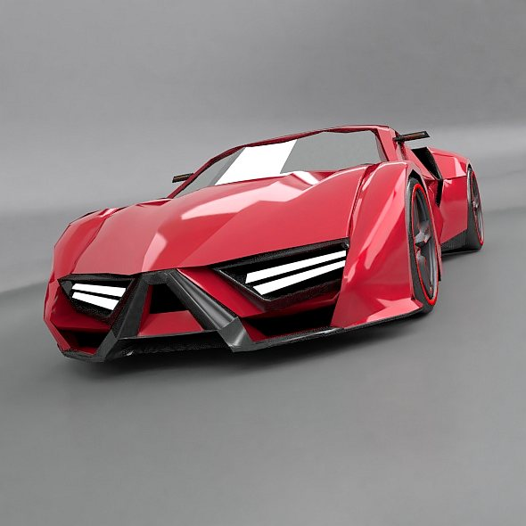 lowpoly itonos futuristic concept car 3d model 3ds blend dae lwo lw lws obj 304600