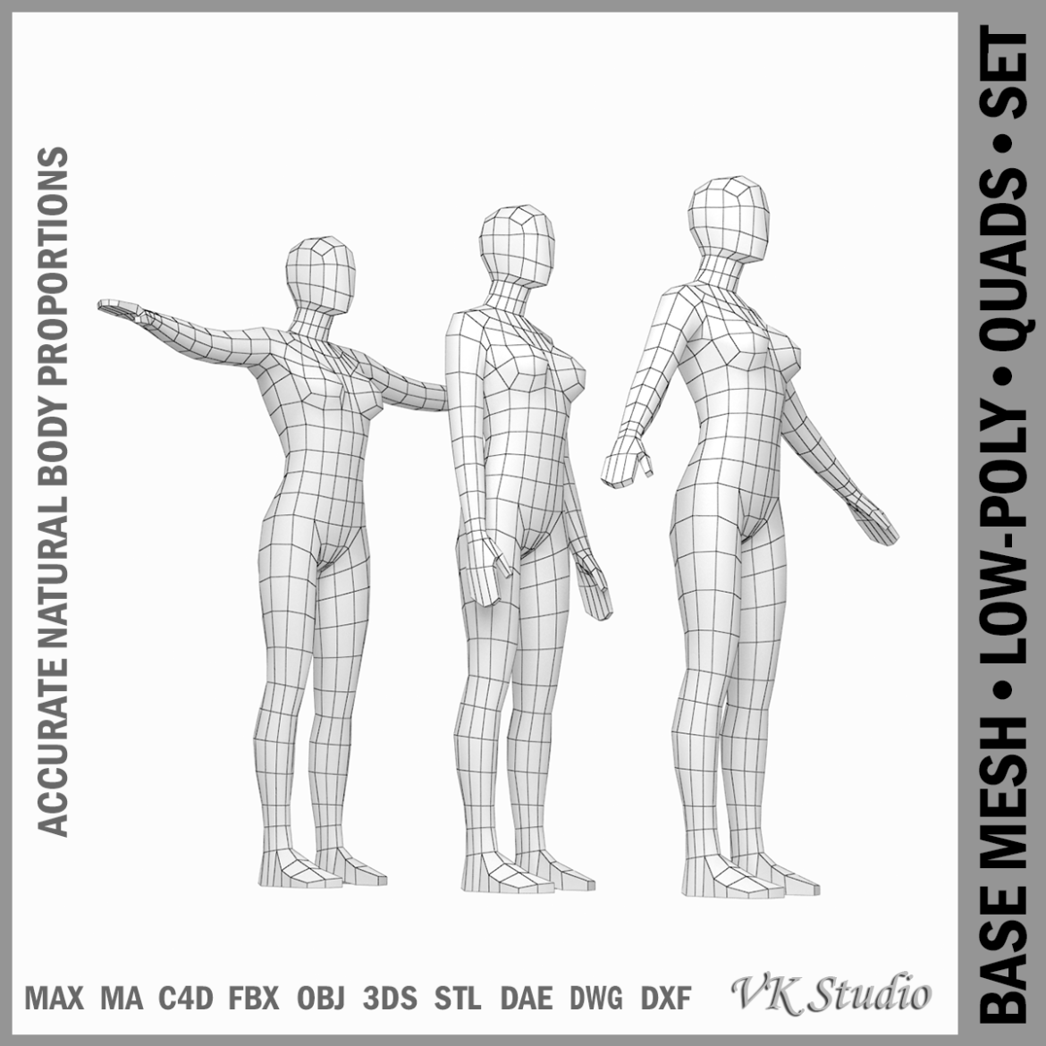 female base mesh in modeling poses 3d model png 3ds c4d dae dwg dxf fbx max ma mb obj stl 304693