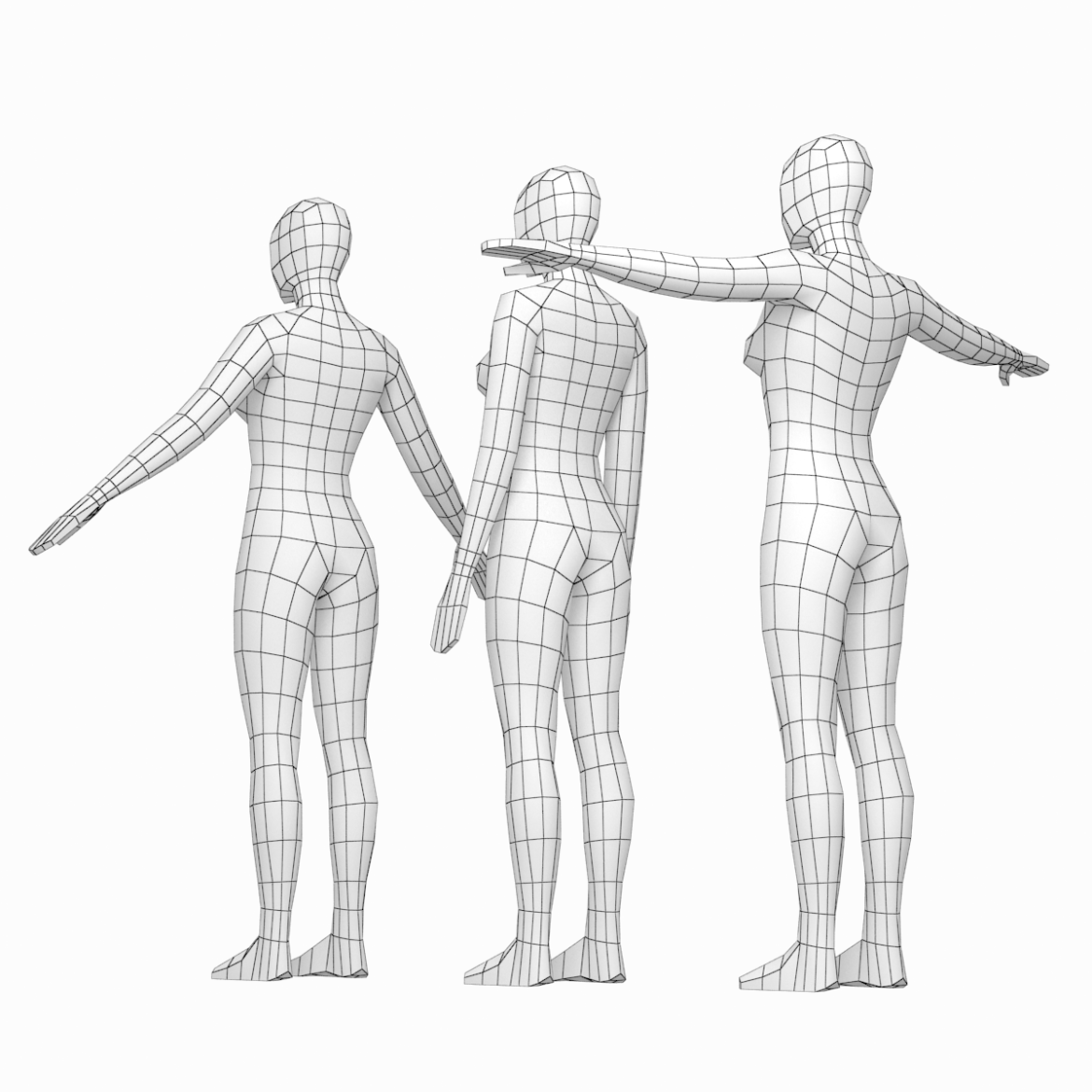 female base mesh in modeling poses 3d model png 3ds c4d dae dwg dxf fbx max ma mb obj stl 304695