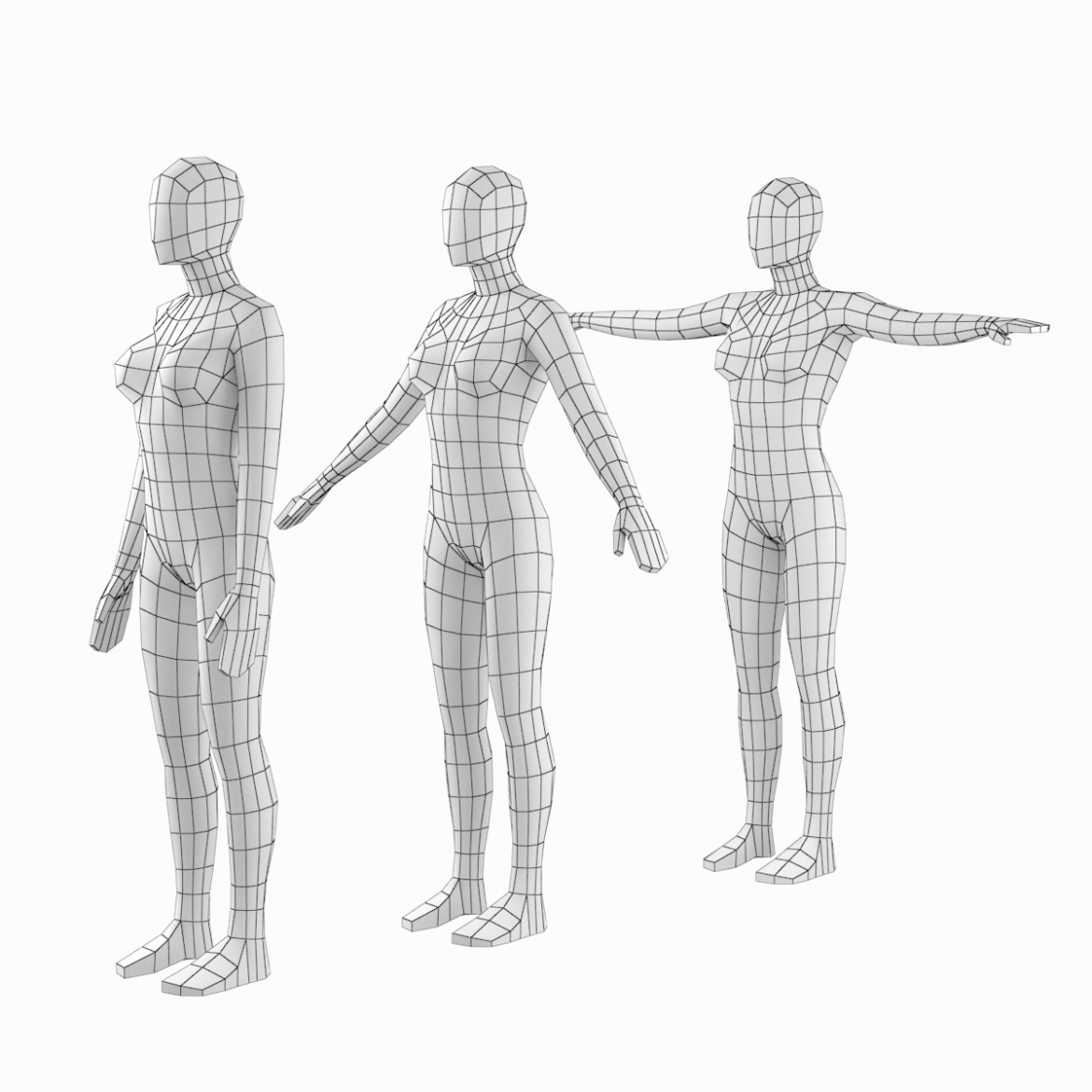 female base mesh in modeling poses 3d model png 3ds c4d dae dwg dxf fbx max ma mb obj stl 304696