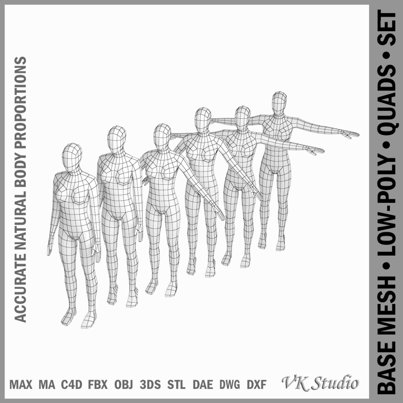 female base mesh in 6 modeling poses 3d model png stl obj ma mb max fbx dxf dwg dae c4d 3ds txt 304739