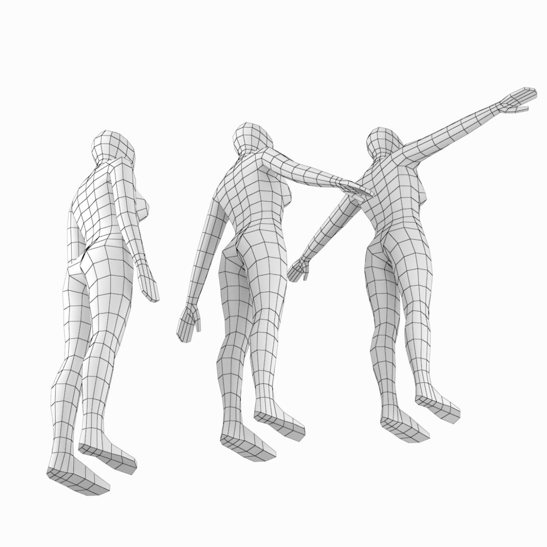 female base mesh in 6 modeling poses 3d model png stl obj ma mb max fbx dxf dwg dae c4d 3ds txt 304746