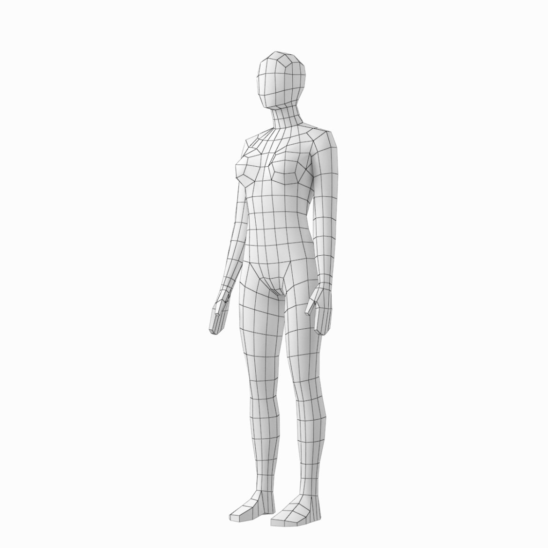 female base mesh in 6 modeling poses 3d model png stl obj ma mb max fbx dxf dwg dae c4d 3ds txt 304747