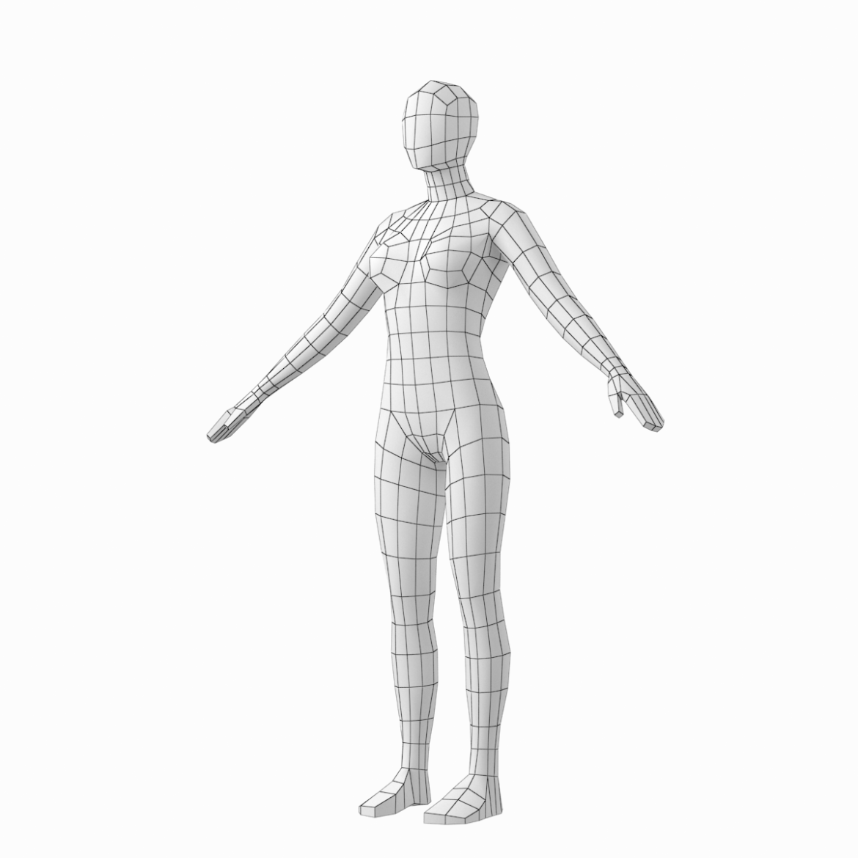 female base mesh in 6 modeling poses 3d model png stl obj ma mb max fbx dxf dwg dae c4d 3ds txt 304748