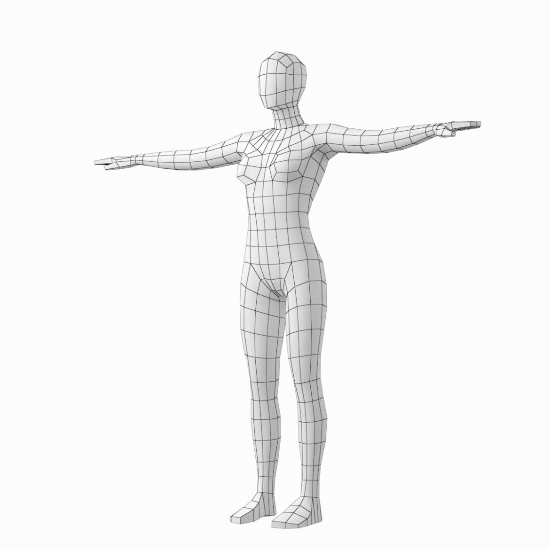 female base mesh in 6 modeling poses 3d model png stl obj ma mb max fbx dxf dwg dae c4d 3ds txt 304749
