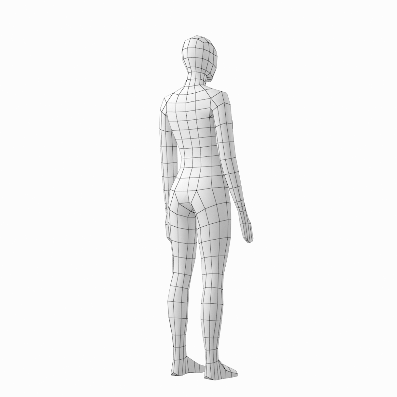 female base mesh in 6 modeling poses 3d model png stl obj ma mb max fbx dxf dwg dae c4d 3ds txt 304750