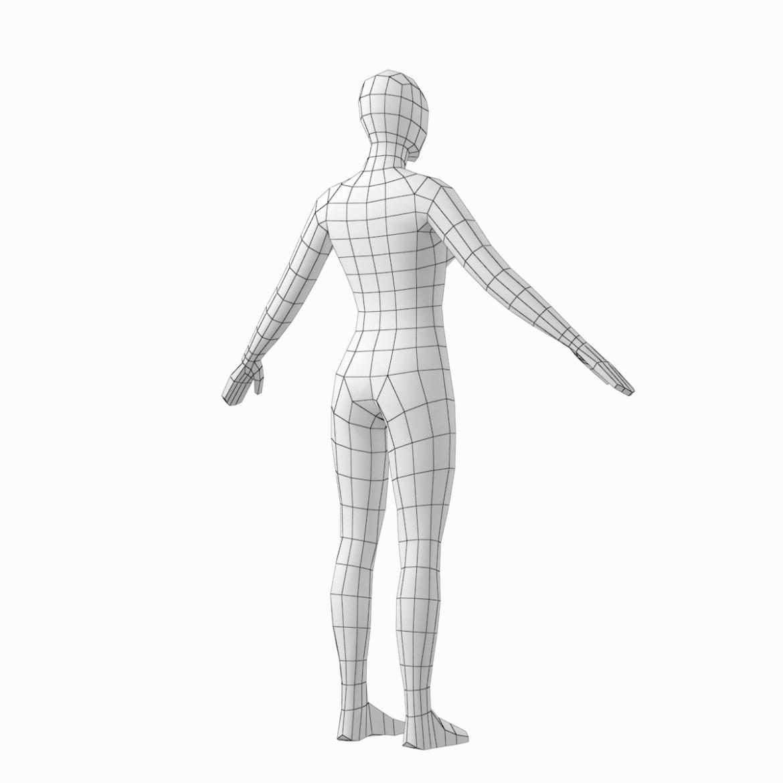 female base mesh in 6 modeling poses 3d model png stl obj ma mb max fbx dxf dwg dae c4d 3ds txt 304751