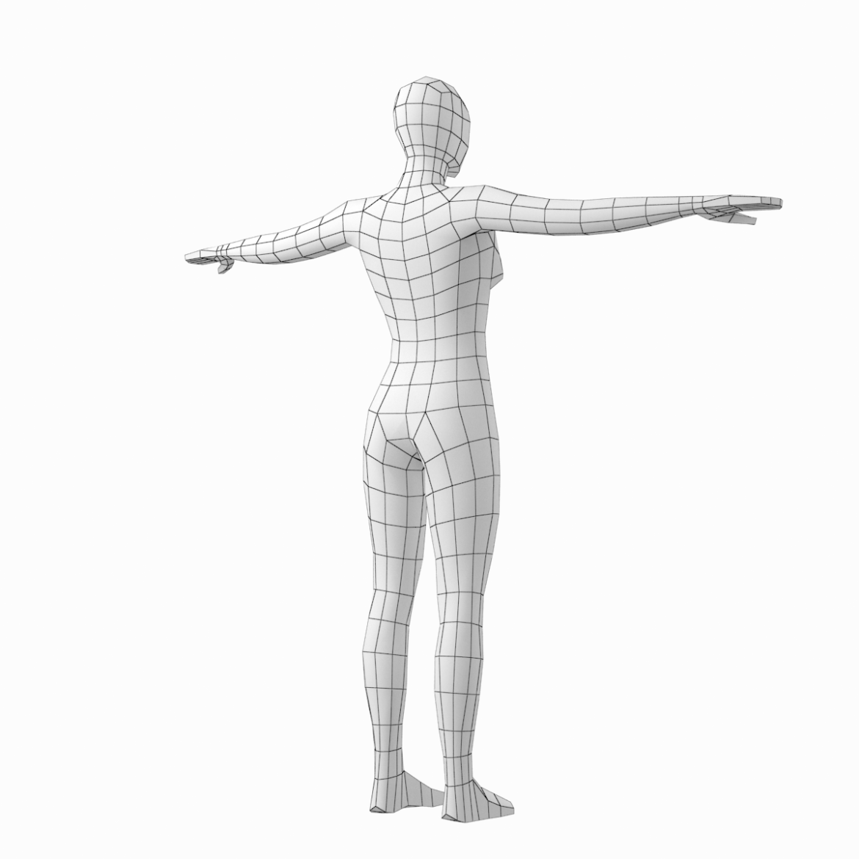 female base mesh in 6 modeling poses 3d model png stl obj ma mb max fbx dxf dwg dae c4d 3ds txt 304752