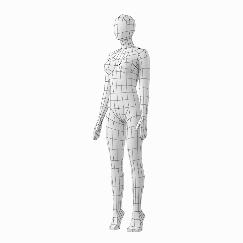female base mesh in 6 modeling poses 3d model png stl obj ma mb max fbx dxf dwg dae c4d 3ds txt 304753