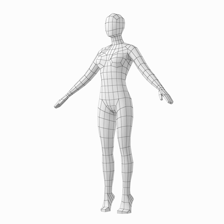 female base mesh in 6 modeling poses 3d model png stl obj ma mb max fbx dxf dwg dae c4d 3ds txt 304754