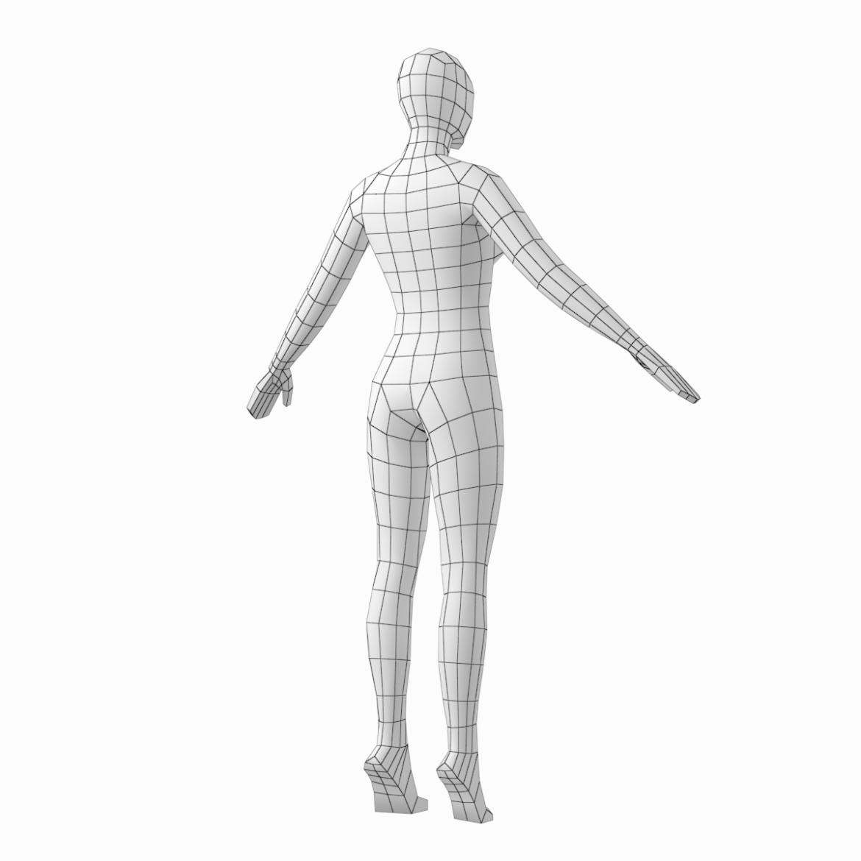 female base mesh in 6 modeling poses 3d model png stl obj ma mb max fbx dxf dwg dae c4d 3ds txt 304757