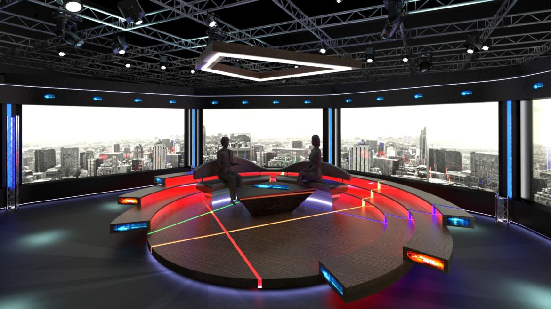 virtual tv studio chat set 2 3d model max ther dxf dwg c4d c4d 304961