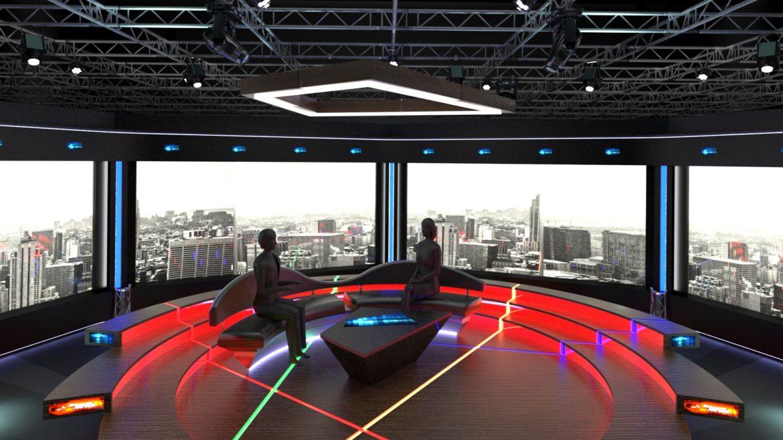 virtual tv studio chat set 2 3d model max ther dxf dwg c4d c4d 304963
