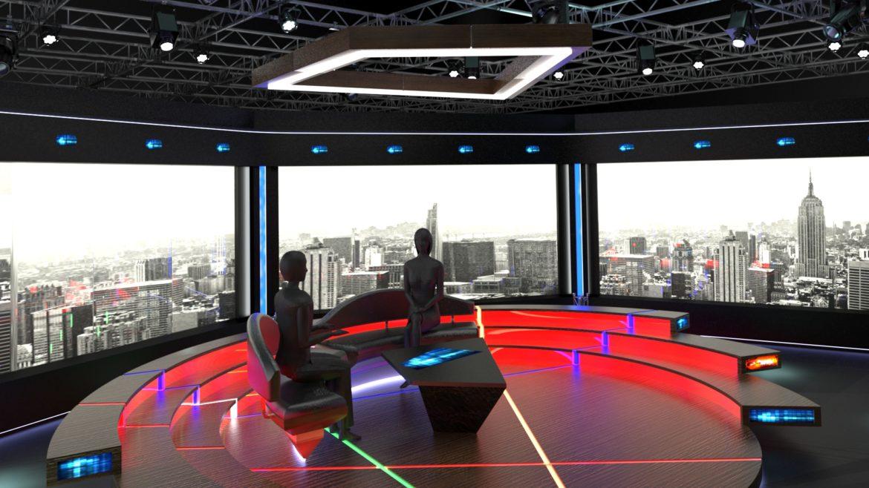 virtual tv studio chat set 2 3d model max ther dxf dwg c4d c4d 304965