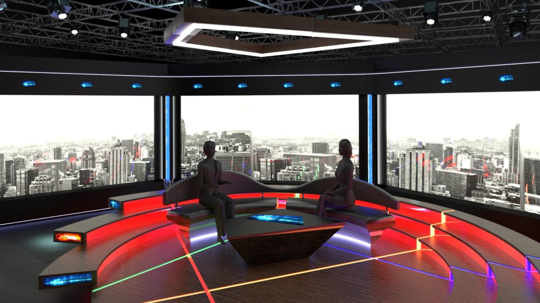 virtual tv studio chat set 2 3d model max ther dxf dwg c4d c4d 304967