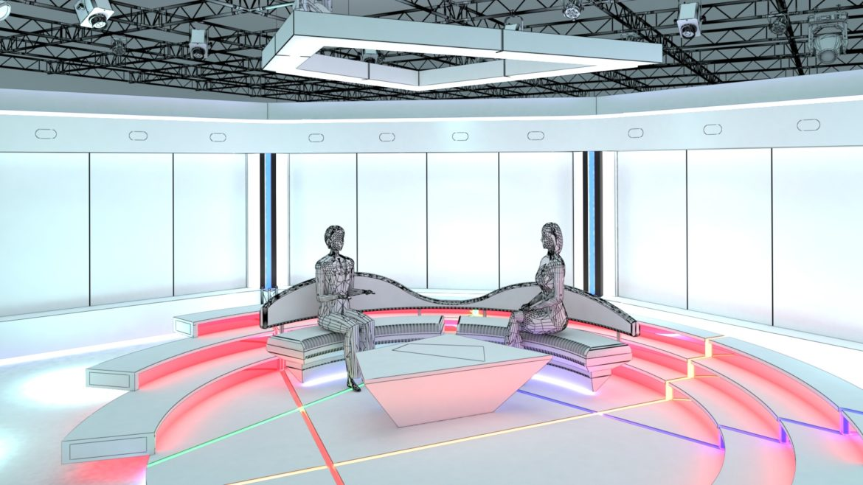 virtual tv studio chat set 2 3d model max ther dxf dwg c4d c4d 304968