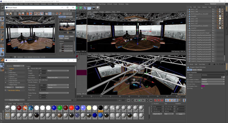 virtual tv studio chat set 2 3d model max ther dxf dwg c4d c4d 304980