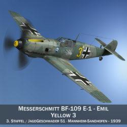 messerschmitt – bf-109 e – yellow 3 3d model 3ds c4d fbx lwo lw lws obj 305029
