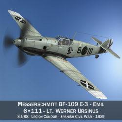 messerschmitt – bf-109 e – 6-111 3d model 3ds c4d fbx lwo lw lws obj 305054