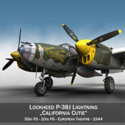 lockheed p-38 lightning – california cutie 3d model fbx lwo lw lws obj c4d 305133