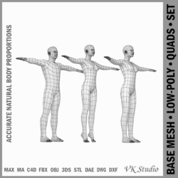 male and female base mesh in t-pose 3d model png stl obj ma mb max fbx dxf dwg dae c4d 3ds txt 305170