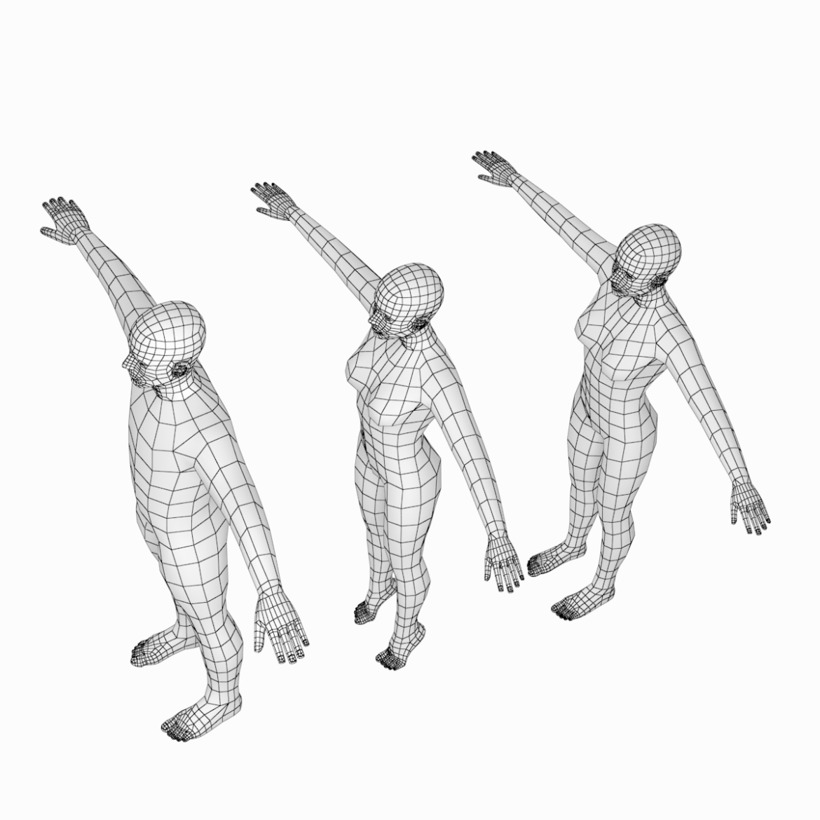 male and female base mesh in t-pose 3d model png stl obj ma mb max fbx dxf dwg dae c4d 3ds txt 305173