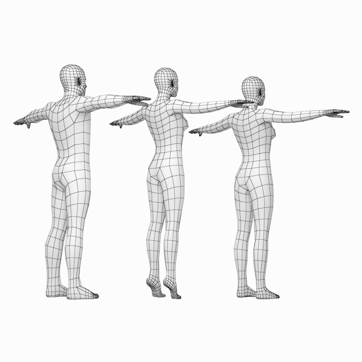 male and female base mesh in t-pose 3d model png stl obj ma mb max fbx dxf dwg dae c4d 3ds txt 305175