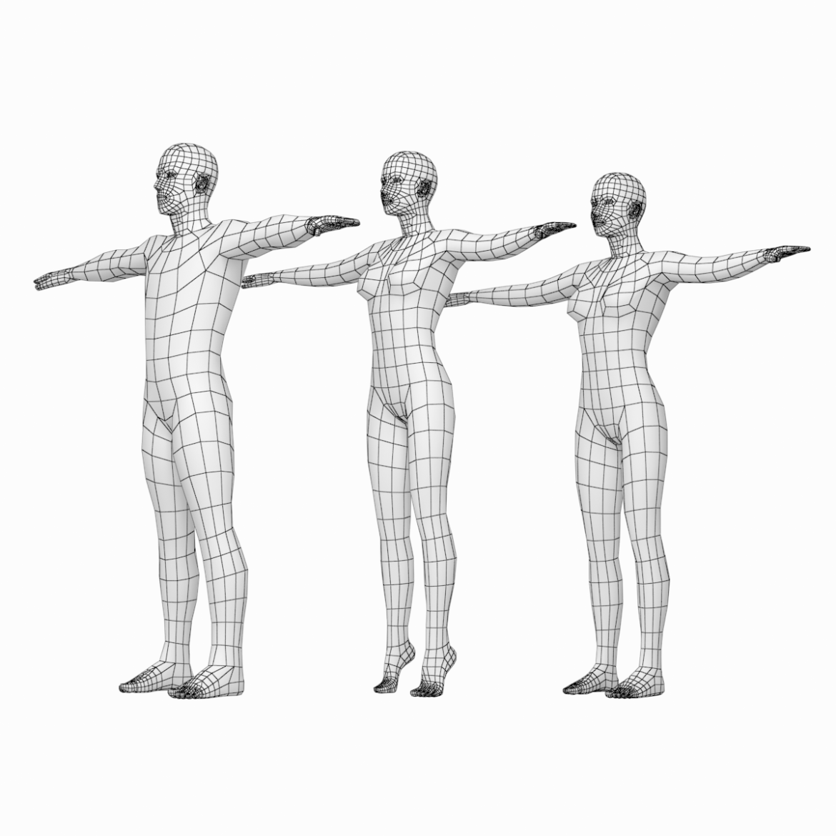male and female base mesh in t-pose 3d model png stl obj ma mb max fbx dxf dwg dae c4d 3ds txt 305176