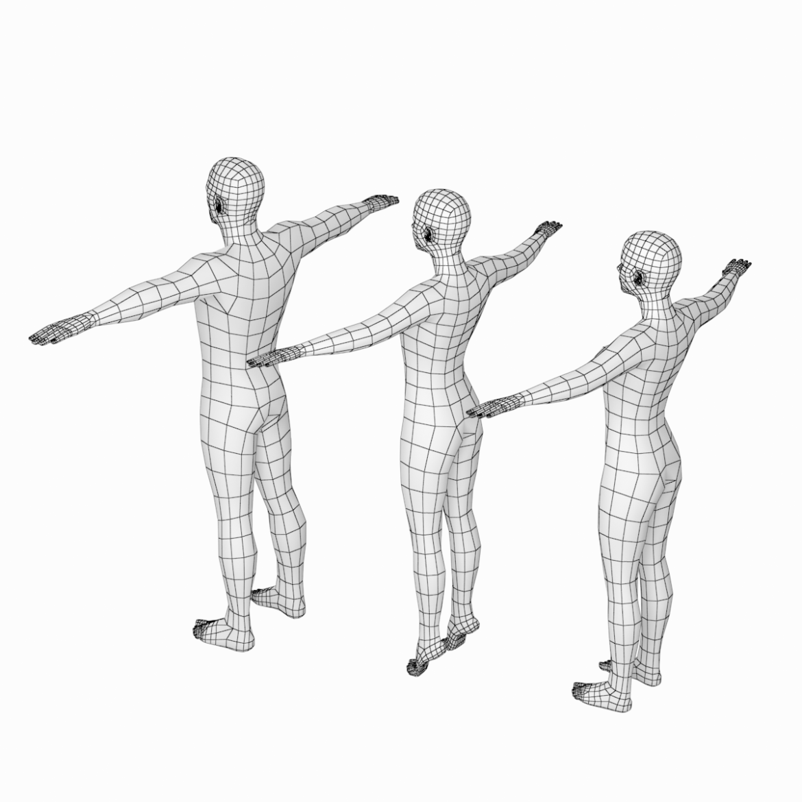 male and female base mesh in t-pose 3d model png stl obj ma mb max fbx dxf dwg dae c4d 3ds txt 305177